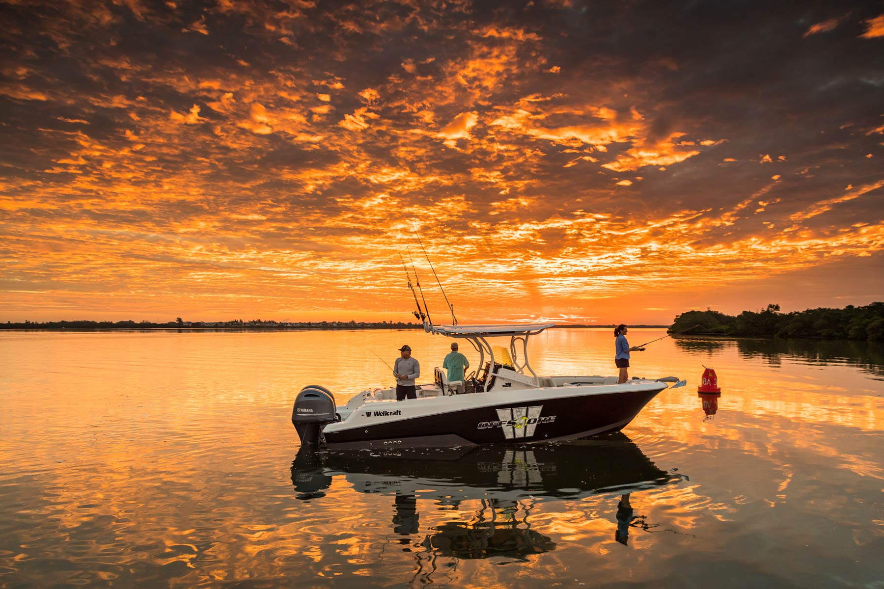 Wellcraft fishing boat at sunrise in Florida